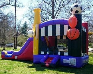 sports waterslide bounce house combo soccer ball football basketball baseball boy boys party