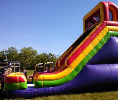 giant 21 foot tall waterslide colors fun kids party entertainer service local davidson sumner county hendersonville madison gallatin